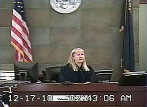 Judge Valorie Vega in the courtroom during Victor Fakoya's trial at 2:43 a.m. (Clark County District Court)