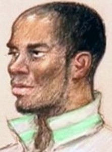 Symieon Robinson-Pierre during his sentencing on January 13, 2013 (drawing by Julia Quenzler).