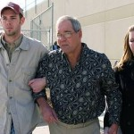 Charles Stobaugh released from the Denton County Jail on January 30, 2014 with his son Tommy on his right and daughter Charee on his left. (David Minton - Denton Record-Chronicle)