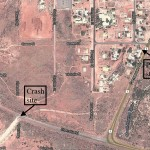 Map of crash location on Cherratta Rd and the location of the police station less than a 1/4 mile away in Roebourne, Western Australia (Google Earth)