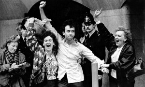 Gerry Conlon (center with right-hand raised) outside the courthouse in London after his conviction was overturned and he was released on October 19, 1989. (Photopress Belfast)
