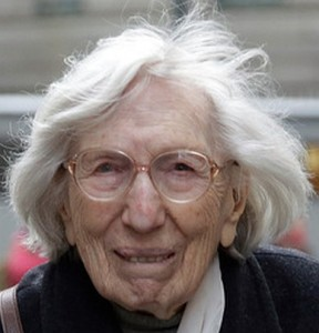 Miriam Moskowitz, 98, outside the federal courthouse in Manhattan on December 4, 2014 after her coram nobis petition was denied (Daily Mail)