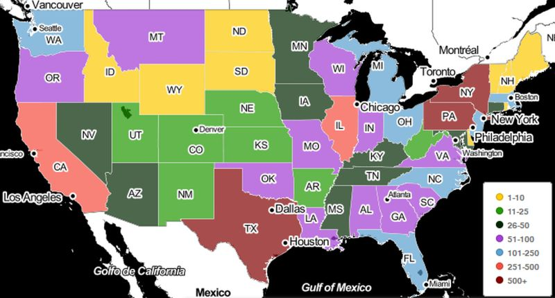 US Map With States Colorcoded To Represent The Total Number Of - Color coded map of us