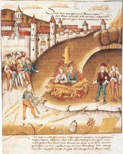 Burning of sodomites outside Zurich in 1482 (Spiezer Schilling)