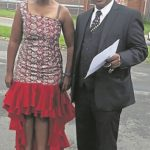 Thenjiwe Griffiths, with her attorney Narain Naidoo, outside the Westville Prison after her release on April 6, 2017. (Supplied)