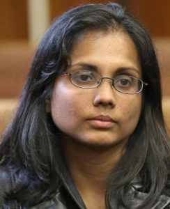 Annie Dookhan after her arrest in Sept. 2012 (David L Ryan -- Boston Globe, 2012)