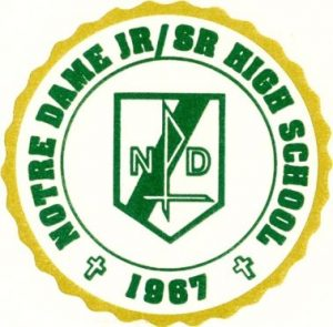 Logo of Notre Dame Junior-Senior High School in East Stroudsburg where Michael Muth coaches girls junior high basketball. (www.ndhigh.org)