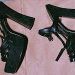 High-heeled platform shoes Kirstin Blaise Lobato was wearing when she was sexually assaulted at the Budget Suites Hotel described in her police Statement of July 20, 2001 (side view).