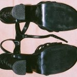 High-heeled platform shoes Kirstin Blaise Lobato was wearing when she was sexually assaulted at the Budget Suites Hotel described in her police Statement of July 20, 2001 (bottom of soles).