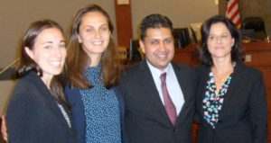 Melisa Sopher, Jane Pucher, Adnan Sultan and Vanessa Potkin (L to R) The Innocents Project of New York's legal team during Kirstin Lobato's evidentiary hearing in Las Vegas from Oct. 9 to Oct. 13, 2017. The picture was taken in the courtroom after the evidentiary hearing concluded. (Ms. Sopher is a paralegal, while the other three are lawyers with Ms. Potkin the lead lawyer.) (Photo by Hans Sherrer)