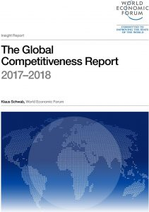 The Global Competitiveness Report 2017–2018 (cover), published September 26, 2017 by the World Economic Forum in Geneva, Switzerland.