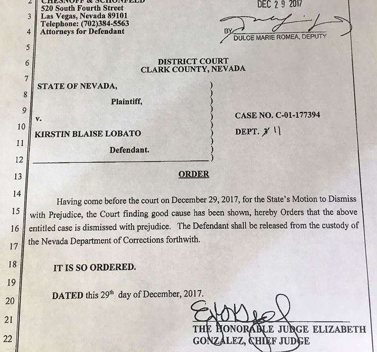 Judge Elizabeth Gonzalez' Order on Dec. 29, 2017 vacating Kirstin Lobato's convictions related to Duran Bailey's 2001 homicide, and ordering dismissal of the charges with prejudice.