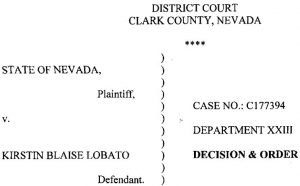 DECISION & ORDER Granting Kirstin Lobato's habeas corpus petition on Dec. 19, 2017