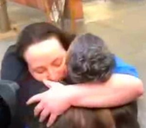 Kirstin Lobato hugging Michelle Ravell outside the Clark County Courthouse after her release at 2pm on Jan 3, 2018 (KLAS-TV Las Vegas)