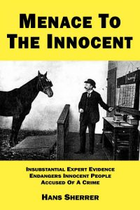 """Menace To The Innocent"" front cover (The photo is of the horse Clever Hans, who fooled people in the early 1900s into believing he was an expert able to perform complex mathematical calculations and feats of memory.)"