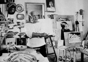 Pablo Picasso in his studio in Vallauris, France, Oct. 23, 1953 (AP)